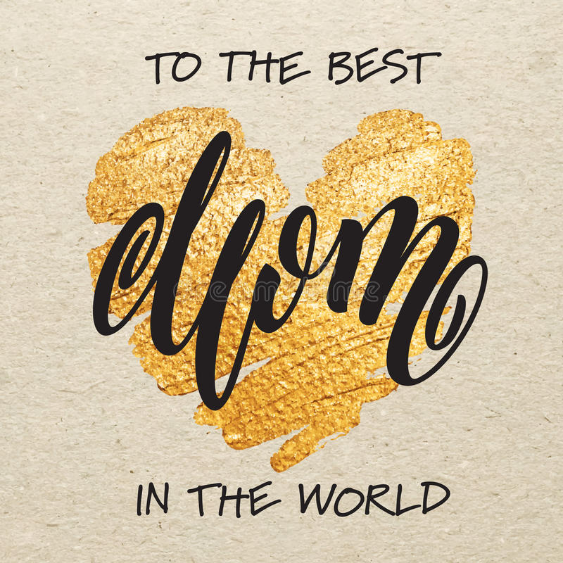 Cartolina d'auguri di giorno di madri con il cuore di scintillio dell'oro royalty illustrazione gratis