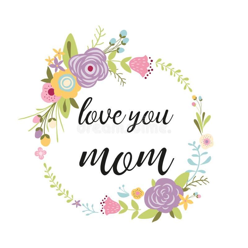 Cartolina d'auguri di giorno di madri, illustrazione disegnata a mano di vettore dei fiori della corona floreale dell'invito illustrazione di stock