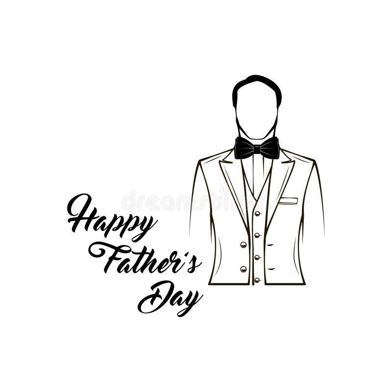 Cartolina d'auguri di giorno di padri Il rivestimento degli uomini, farfallino Il vestito degli uomini, smoking Iscrizione felice illustrazione vettoriale