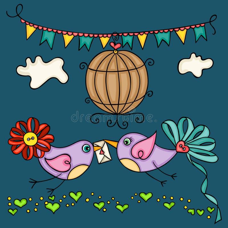 Cartolina d'auguri di giorno di S. Valentino con due uccelli svegli di amore royalty illustrazione gratis
