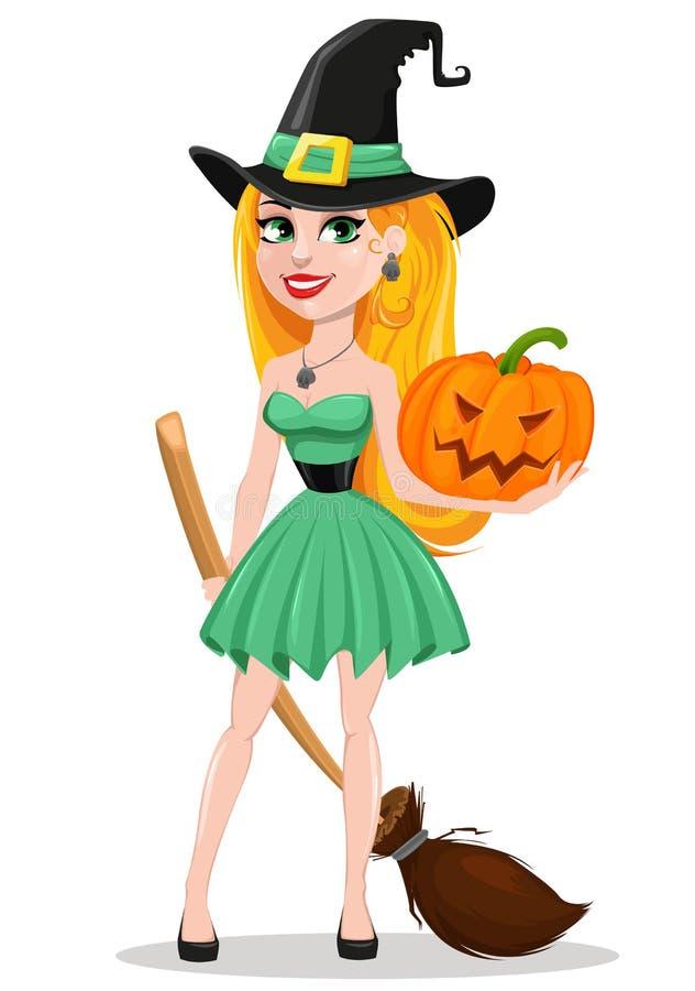Cartolina d'auguri di Halloween Pellegrino d'uso ha della bella strega di signora illustrazione vettoriale