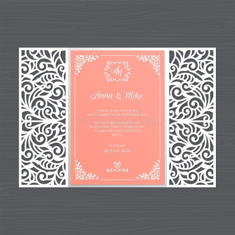Cartolina d'auguri di lusso dell'invito o di nozze con la o floreale d'annata royalty illustrazione gratis
