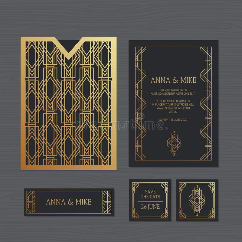 Cartolina d'auguri di lusso dell'invito o di nozze con orname geometrico illustrazione di stock