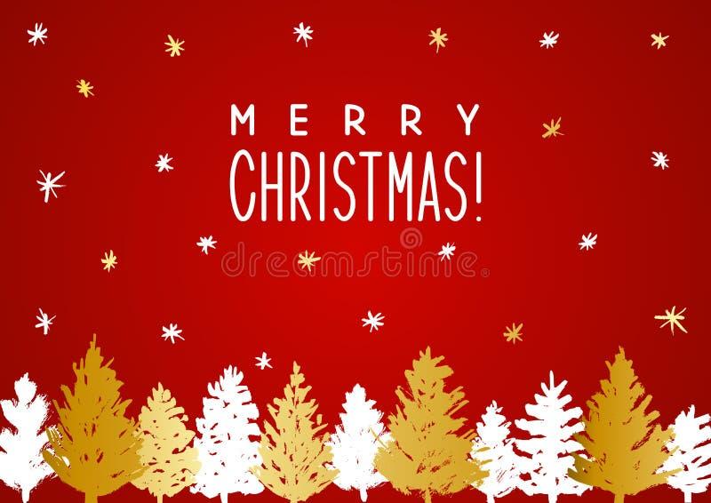 Cartolina d'auguri di Natale con gli alberi di natale illustrazione di stock