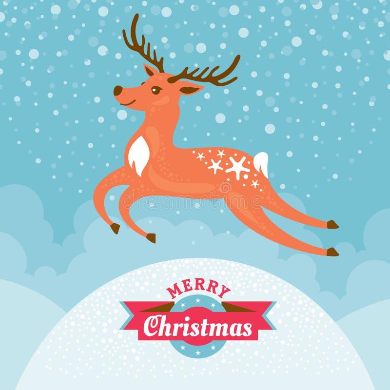Cartolina d'auguri di Natale con i cervi illustrazione vettoriale