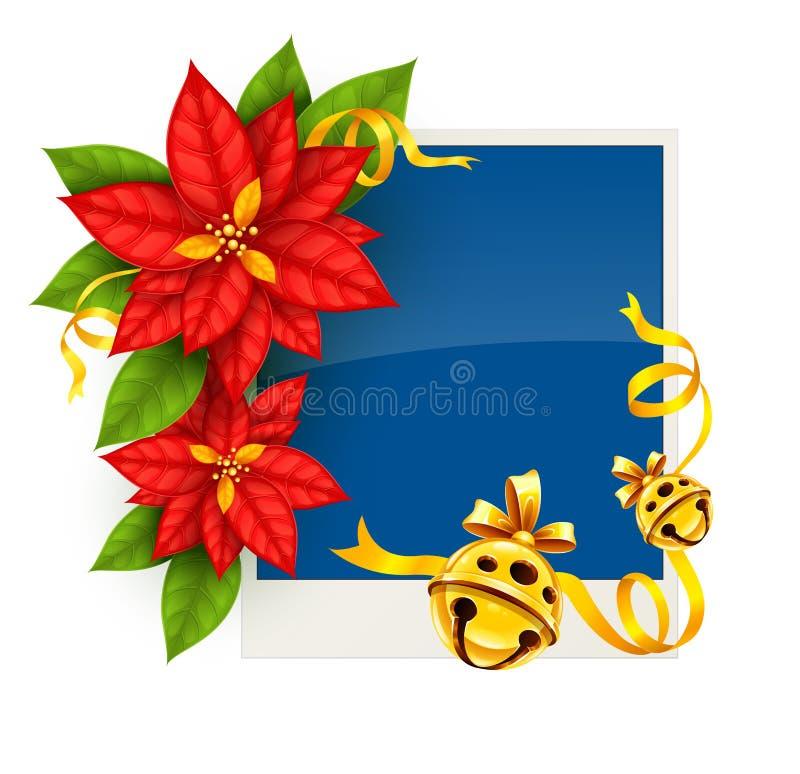 Cartolina d'auguri di Natale con i fiori della stella di Natale e le campane di tintinnio dell'oro illustrazione di stock