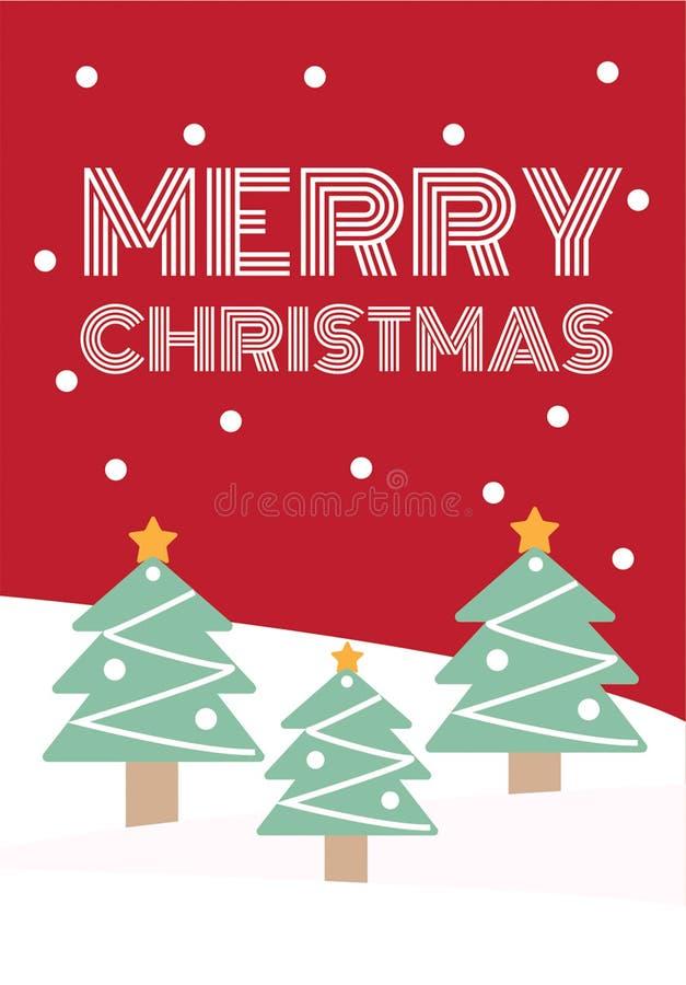 Cartolina d'auguri di Natale con i pini e neve nel fondo rosso immagine stock libera da diritti