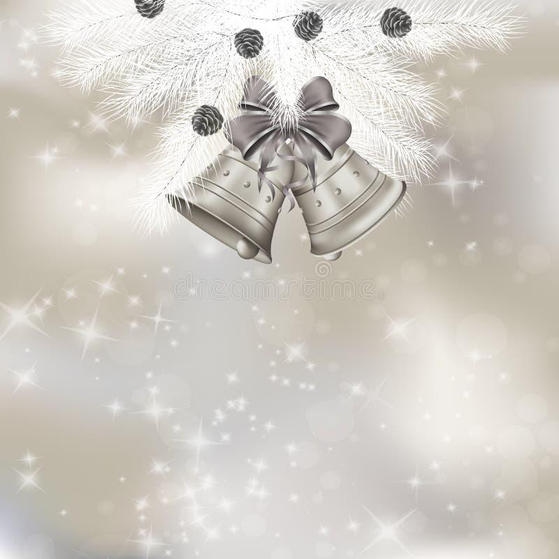 Cartolina d'auguri di natale con i rami dell'abete e le campane di Natale illustrazione di stock