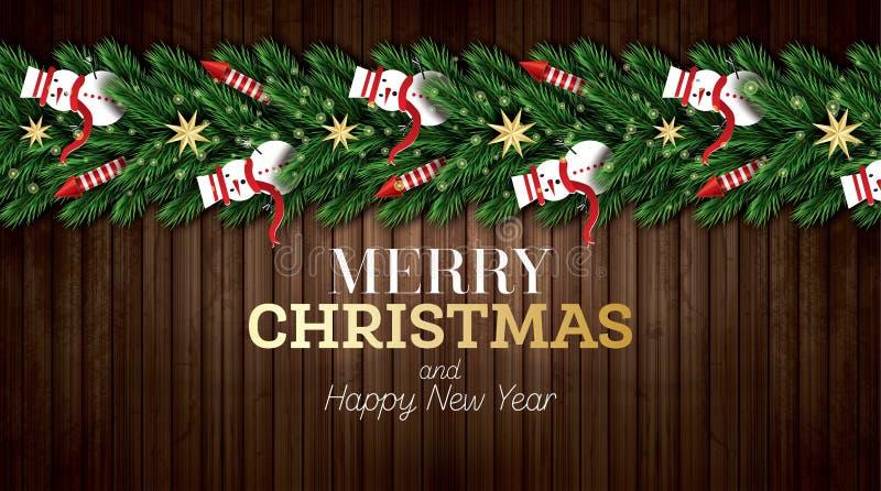 Cartolina d'auguri di Natale con i rami dell'albero di Natale, Rockets rossi e Snowmans su fondo di legno illustrazione di stock