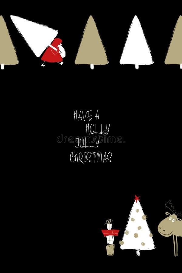Cartolina d'auguri di natale con il Babbo Natale royalty illustrazione gratis