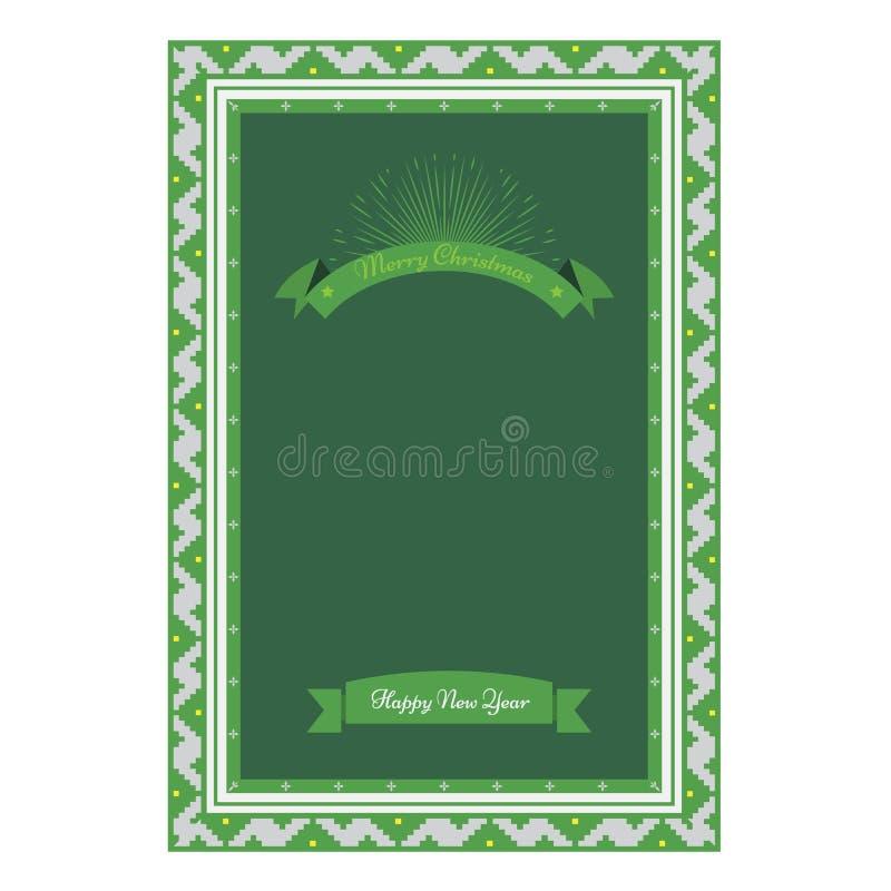 Cartolina d'auguri di Natale con il confine di Natale Illustrazione d'annata di vettore dello sprazzo di sole e del riboon illustrazione di stock