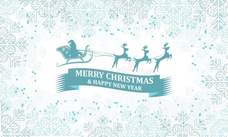 Cartolina d'auguri di Natale con il modello dei fiocchi di neve royalty illustrazione gratis