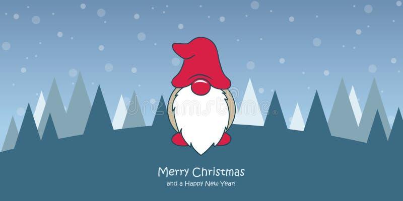 Cartolina d'auguri di Natale con il nano sveglio di natale ed il paesaggio nevoso illustrazione di stock