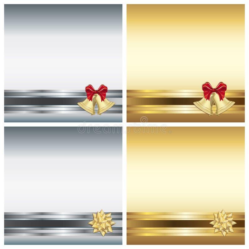 Cartolina d'auguri di Natale con il nastro illustrazione vettoriale
