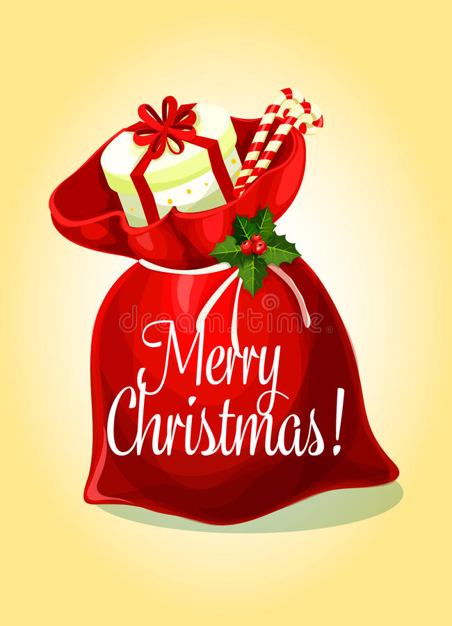 Cartolina d'auguri di Natale con la borsa del regalo di Santa illustrazione di stock