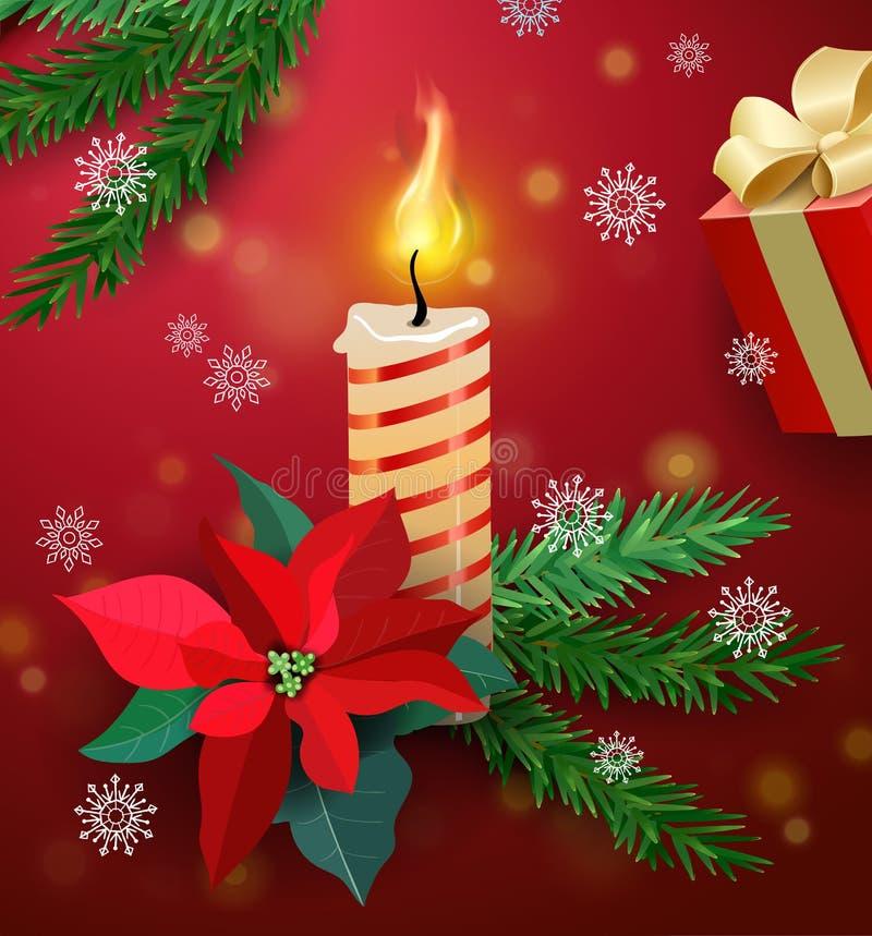 Cartolina d'auguri di Natale con la candela bruciante, il fiore del mistltoe ed il contenitore di regalo Nuovo anno felice Fondo  royalty illustrazione gratis