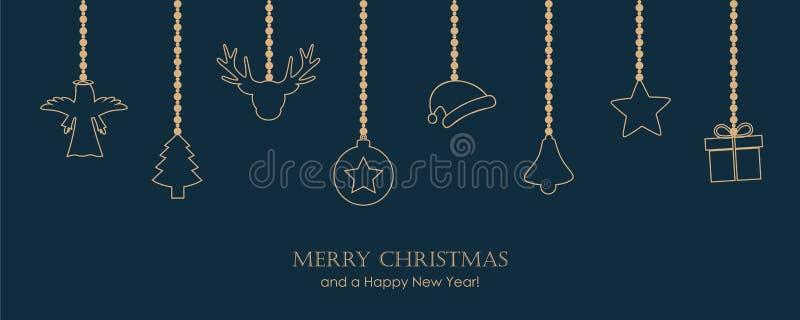 Cartolina d'auguri di Natale con la decorazione d'attaccatura su fondo blu scuro royalty illustrazione gratis