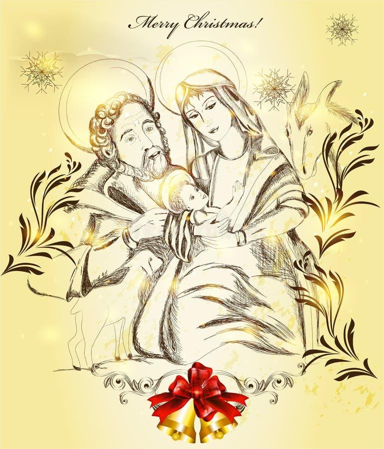 Cartolina d'auguri di Natale con la famiglia santa illustrazione di stock