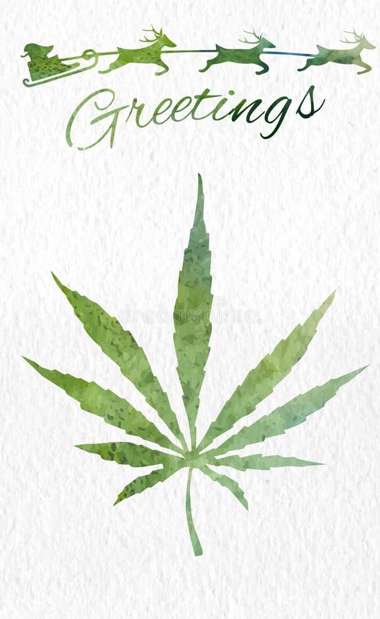 Cartolina d'auguri di Natale con la foglia e Santa della marijuana illustrazione di stock