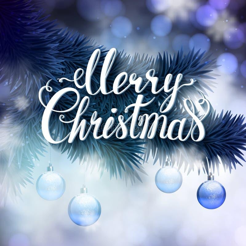 Cartolina d'auguri di Natale con le palle del ramo e di sera dell'abete illustrazione vettoriale