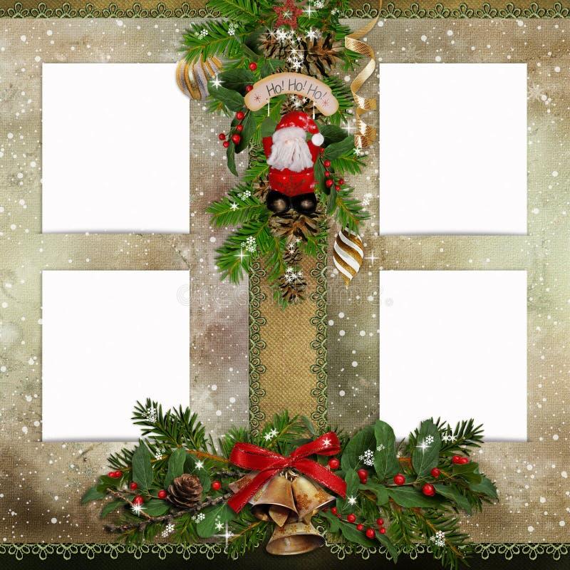 Cartolina d'auguri di Natale con le strutture per le foto royalty illustrazione gratis