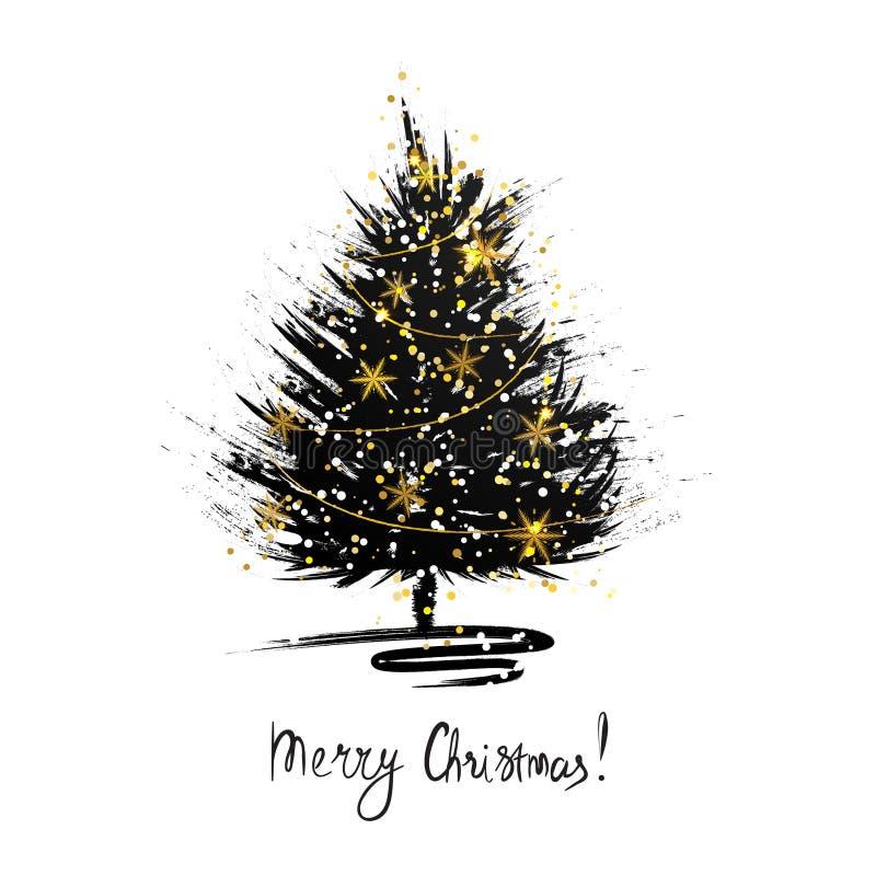 Cartolina d'auguri di Natale con lo schizzo dell'albero di natale Abete di lerciume con i fiocchi di neve dorati illustrazione vettoriale