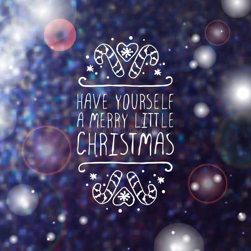 Cartolina d'auguri di Natale con testo sull'vago su illustrazione di stock
