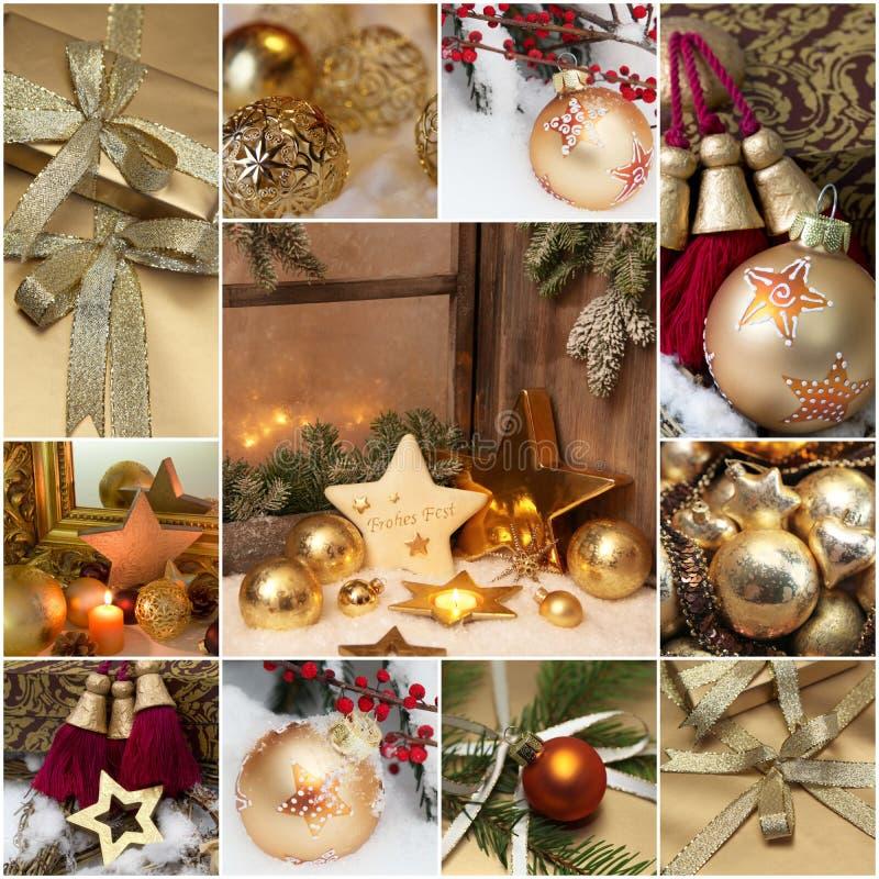 Cartolina d'auguri di Natale del mosaico con la decorazione dorata immagini stock