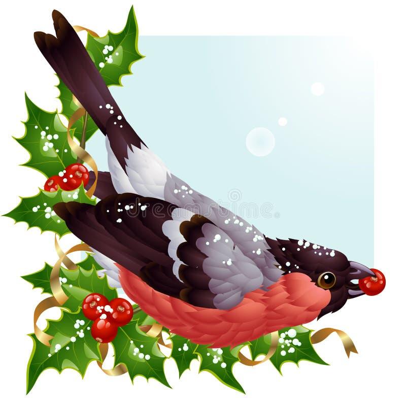 Cartolina d'auguri di natale di vettore con il bullfinch royalty illustrazione gratis