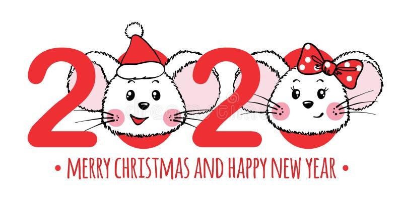 Cartolina d'auguri di Natale e del nuovo anno con i numeri e Mouses sveglio royalty illustrazione gratis