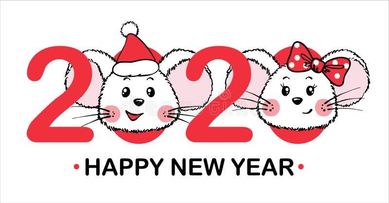Cartolina d'auguri di Natale e del nuovo anno con i numeri e Mouses sveglio illustrazione vettoriale