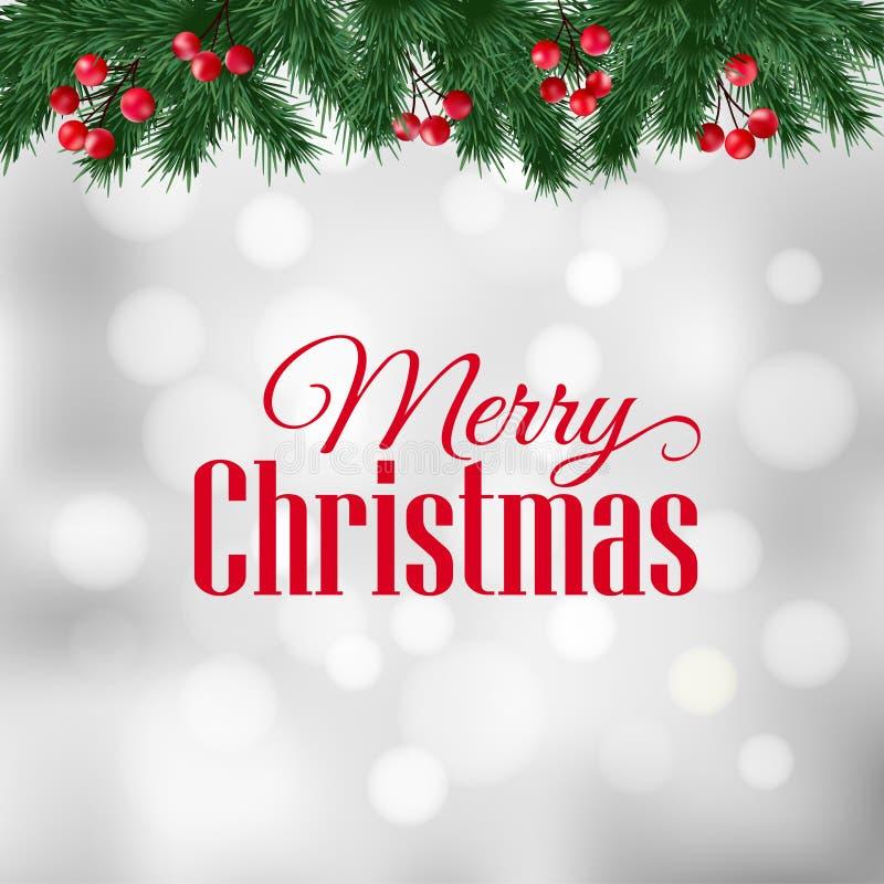 Cartolina d'auguri di Natale, invito con i rami di albero dell'abete e confine delle bacche dell'agrifoglio illustrazione di stock