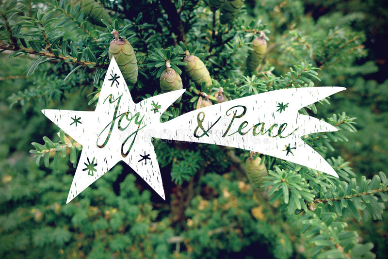 Cartolina d'auguri di Natale, invito con la cometa disegnata a mano sopra il retro fondo della foto della conifera fotografia stock