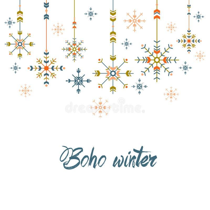 Cartolina d'auguri di Natale nello stile etnico fiocchi di neve geometrici su fondo bianco progettazione tribale di festa illustrazione di stock