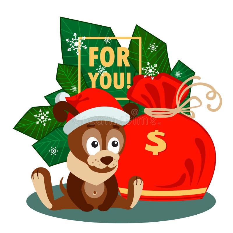 Cartolina d'auguri di Natale o del nuovo anno con il cane e grande borsa davanti ai rami royalty illustrazione gratis
