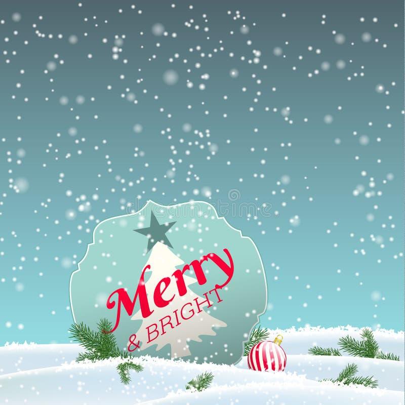 Cartolina d'auguri di Natale, segno con testo allegro e illustrazione di stock