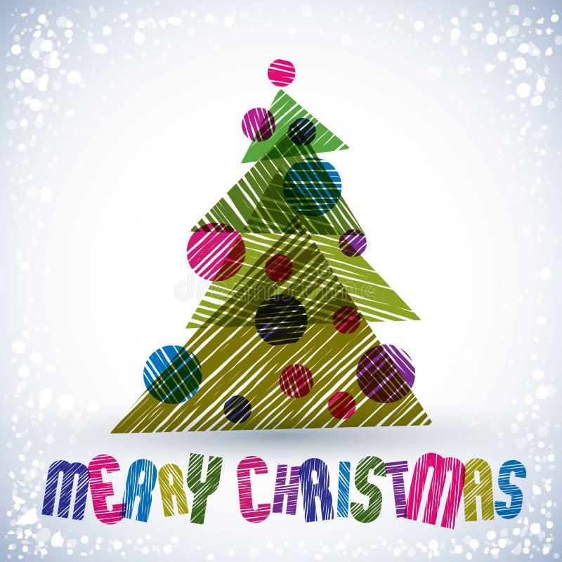 Cartolina d'auguri di Natale, vettore, iscrizione di Buon Natale royalty illustrazione gratis