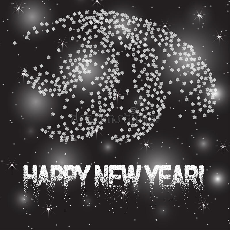 Cartolina d'auguri di nuovo anno Anno 2017 Vector l'illustrazione con gli scintilli, i cerchi vaghi, la neve ed i fiocchi di neve illustrazione vettoriale