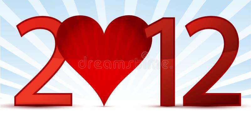 Cartolina d'auguri di nuovo anno felice 2012 illustrazione di stock