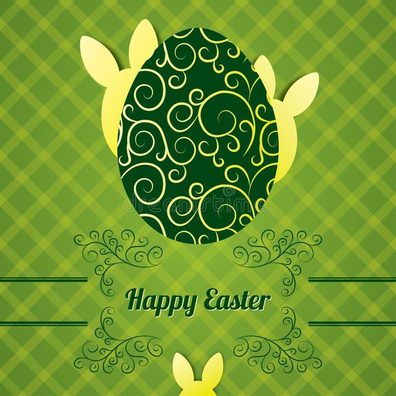 Cartolina d'auguri di Pasqua con l'uovo ed il coniglio astratto illustrazione vettoriale