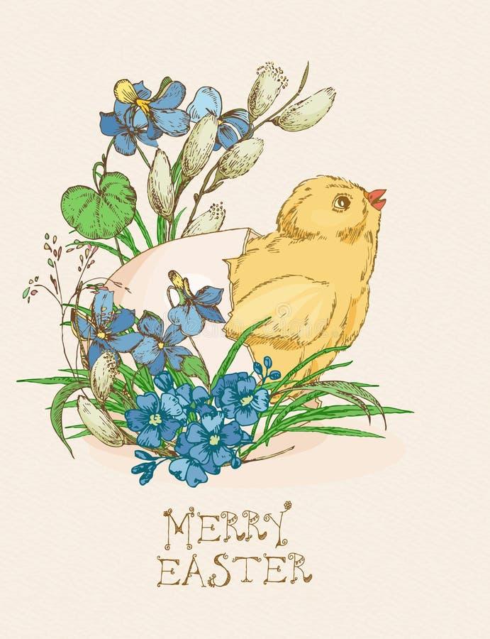Cartolina d'auguri di Pasqua con l'uovo, pollo, fiori su fondo beige royalty illustrazione gratis