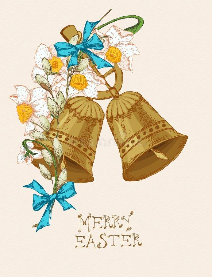 Cartolina d'auguri di Pasqua con le campane, fiori su fondo beige royalty illustrazione gratis