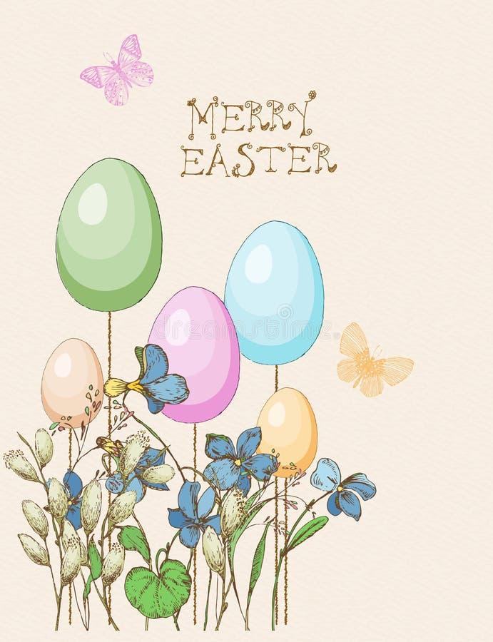 Cartolina d'auguri di Pasqua con le uova, farfalla, fiori su fondo beige illustrazione di stock