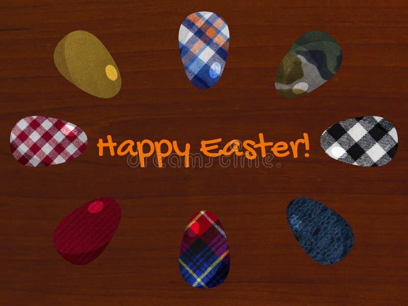 Cartolina d'auguri di Pasqua con le uova strutturate del tessuto sui precedenti di legno immagine stock libera da diritti