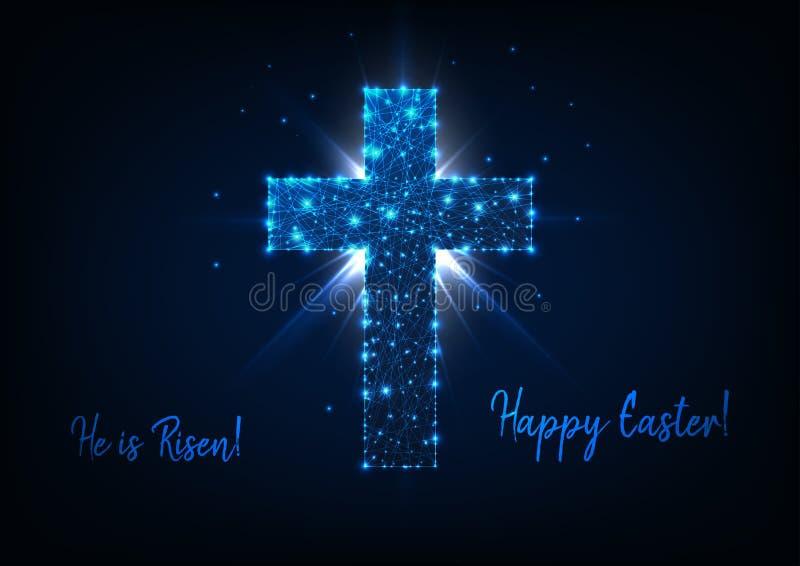 Cartolina d'auguri di Pasqua con splendere il poli incrocio, raggi, stelle e testo bassi è aumentato e Pasqua felice illustrazione vettoriale
