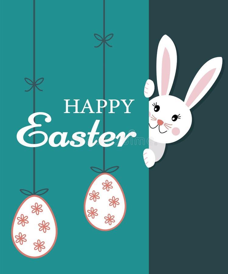Cartolina d'auguri di Pasqua con testo pasqua felice ed il coniglio di coniglietto sveglio che guarda dietro la parete e le uova  illustrazione vettoriale