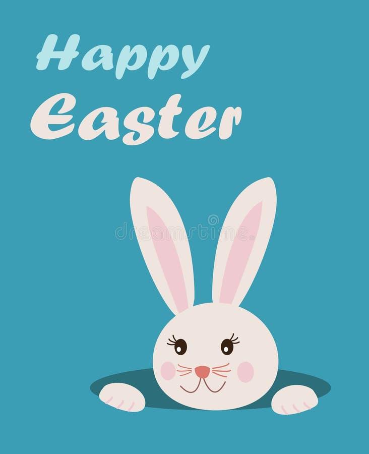 Cartolina d'auguri di Pasqua con testo pasqua felice ed il panino sveglio del fumetto royalty illustrazione gratis