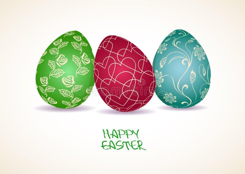 Cartolina d'auguri di Pasqua con tre uova illustrazione di stock