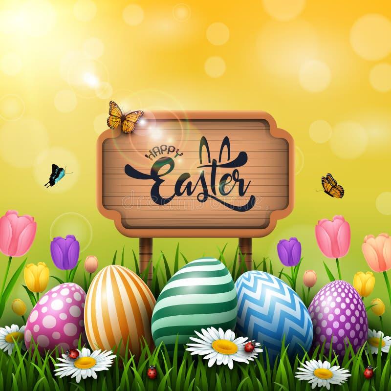 Cartolina d'auguri di Pasqua con un segno di legno e le uova variopinte ed i fiori nell'erba illustrazione di stock