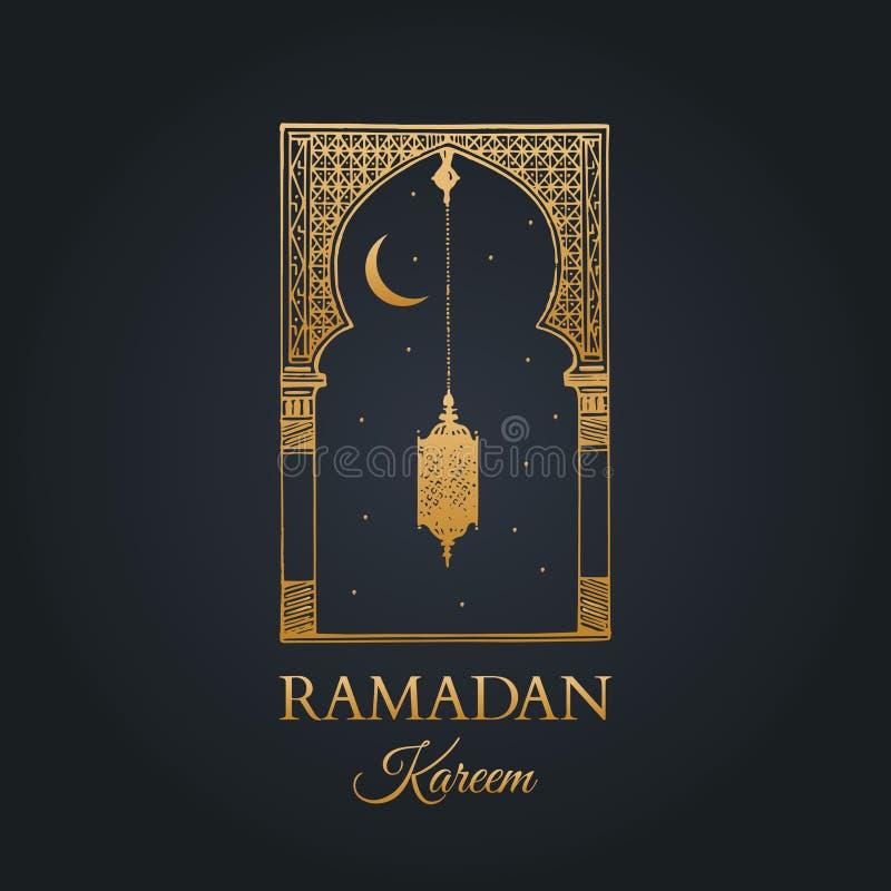 Cartolina d'auguri di Ramadan Kareem con la calligrafia Vector l'arco, la lanterna, la nuova luna e le stelle orientali schizzati royalty illustrazione gratis